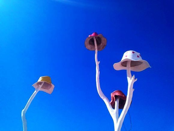 Some hats in blue sky...