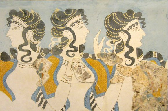 Blue Ladies fresco of Minoan women from the Palace of Knossos, 1600 BCE