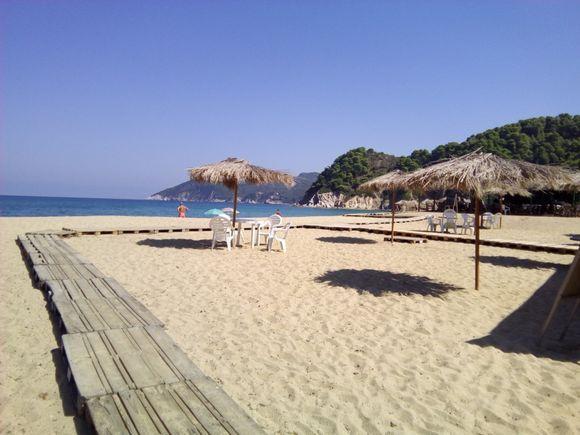 Board walk on Asolinos beach.