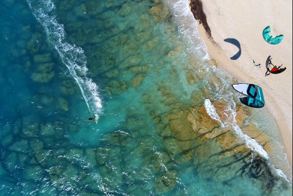 Kitesurfing at Agios Ioannis beach