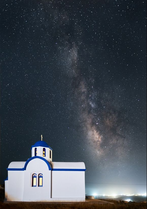 The Milky Way appears over Agios Symeon