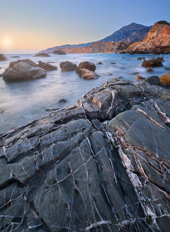 The Rocky coast north of Finiki at sunset