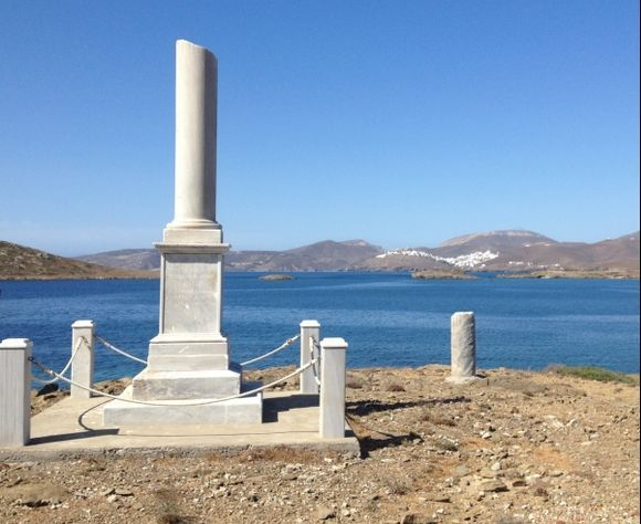 Monument and distant Chora, Astypalaia