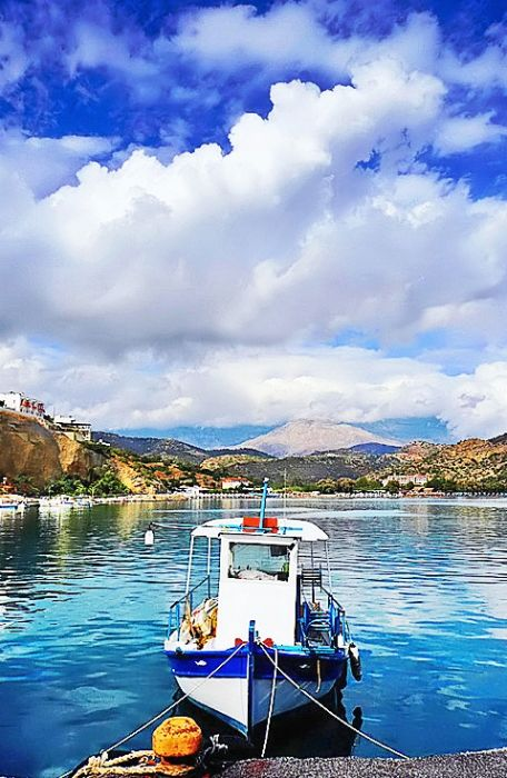 a fishingboat in the harbour of agia galini on crete
