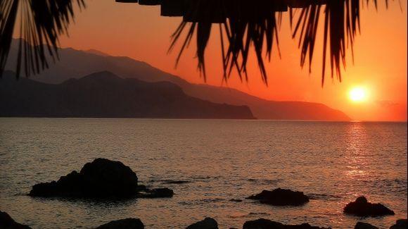 Sunrise in paleochora, crete