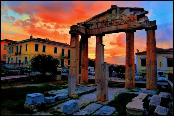 This is a view of the roman agora, during a beautiful sunset