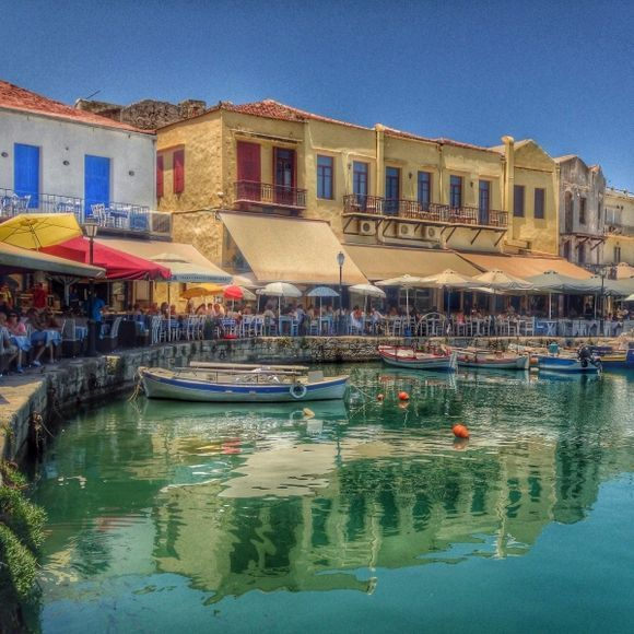 The beautiful harbour of Rethymnon on Crete.