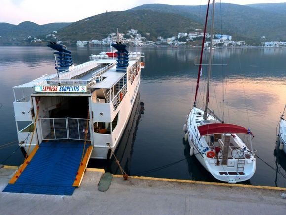 Waterfront with Express Skopelitis at dawn