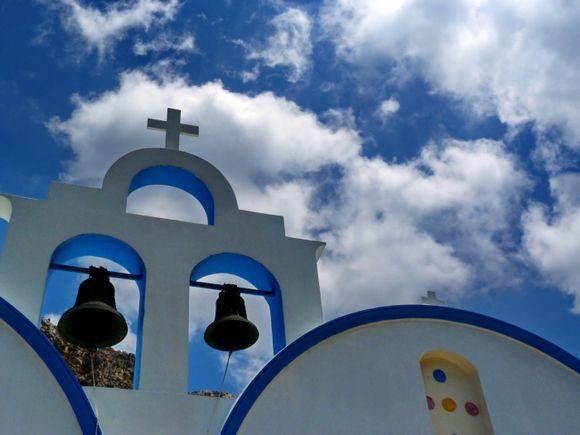 Sky and belltower in Potamos village