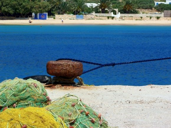 Stavros Beach and fishing nets