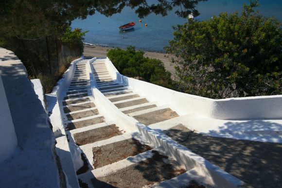 Flight of stairs and waterfront, Agia Marina