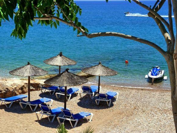 Sunbeds on Agia Marina beach