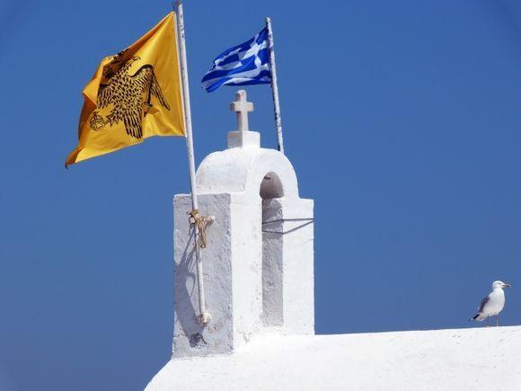 Bell tower and seagull, Panagia Mirtidiotissa