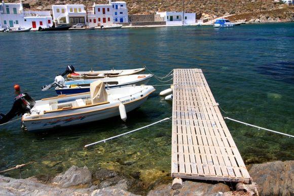 Agia Irini Bay with wooden pier
