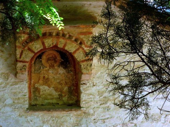 Facade with frescoe of ancient church