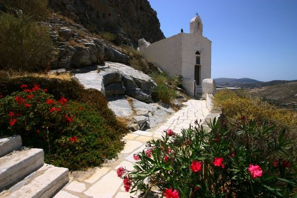 Small church and flowered alley