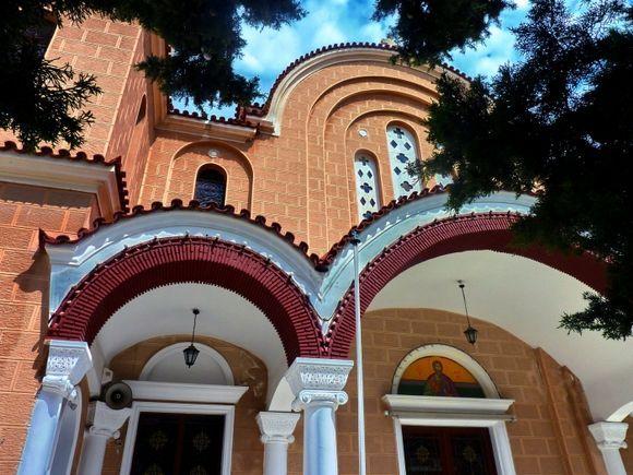 Arches and sky, church in Koulouri, Salamina island, Saronic Gulf