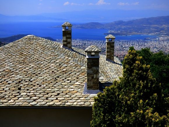 Slate roofs and Volos cityscape