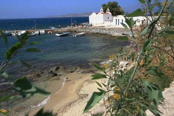 Aghios Ioannis bay with monastery and beach