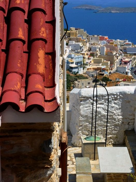Red roof and seascape, Ano Syros