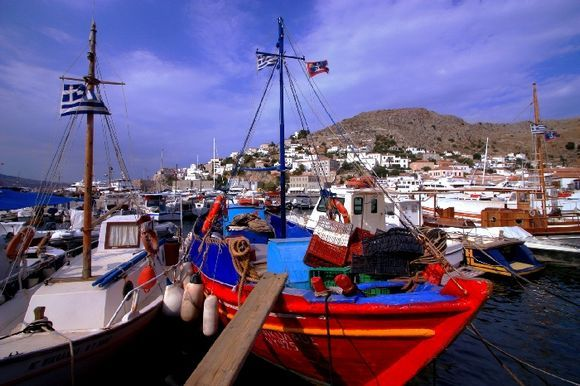 Colorful fishing boats and scenery, Hydra town harbour