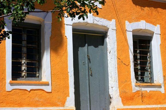 Orange church facade