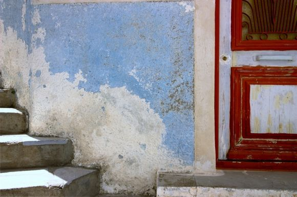 Decayed colorful facade, Ano Syros