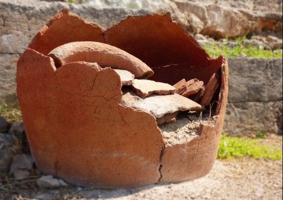 Ancient pot. Kolonna archeological site. Aegina Town
