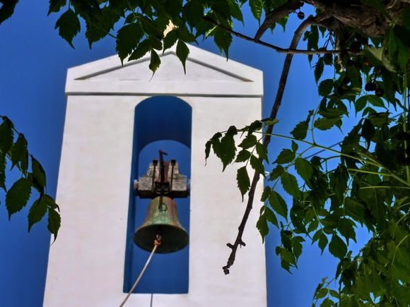 Bell tower and leaves