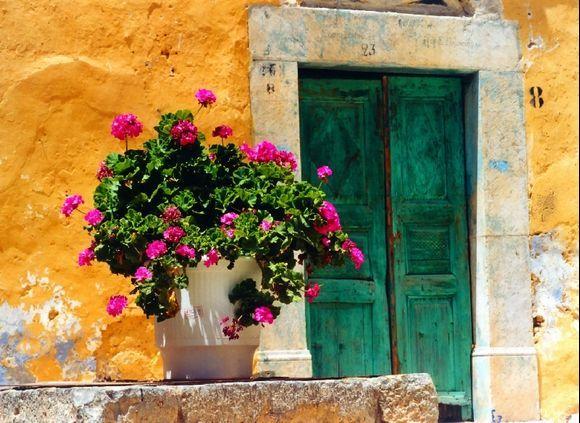 Colorful facade, Olympi village