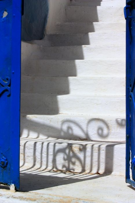 Blue entrance and steps