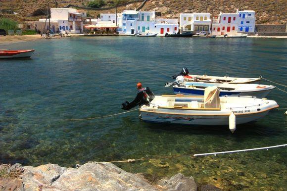 Agia Irini Bay with tied motor boats