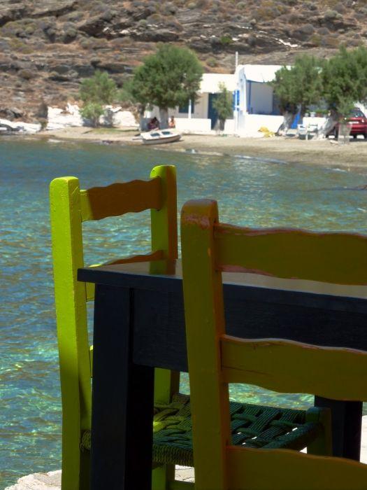 Table and chairs, Aghia Irini beach