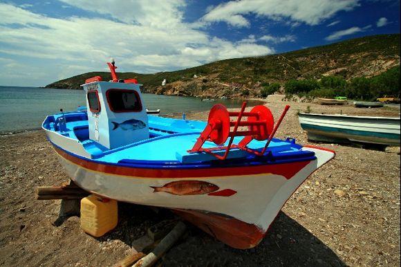 Fishing boat on Kambos beach