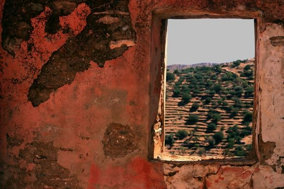 Landscape through decayed pink wall