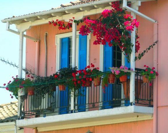 Pink facade and balcony