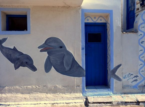 Facade with dolphins