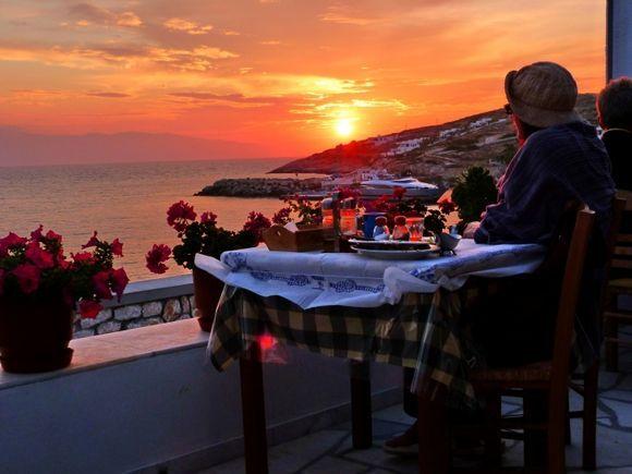 Iliovassilema taverna with wonderful sunset view