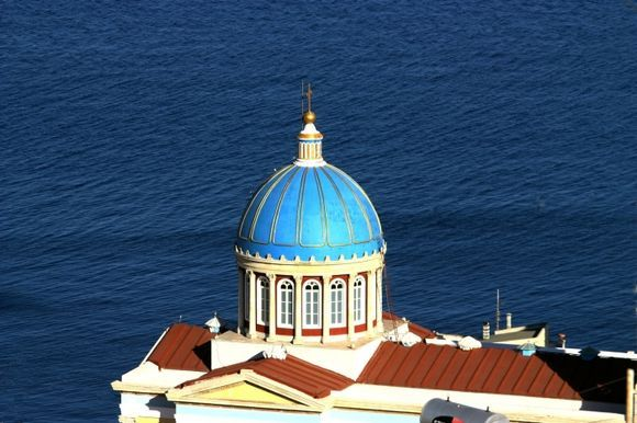 Overview of Agios Nikolaos church and sea