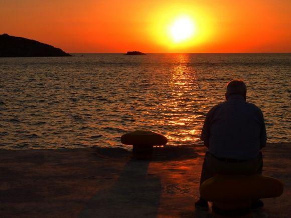 Man and sea at sunset