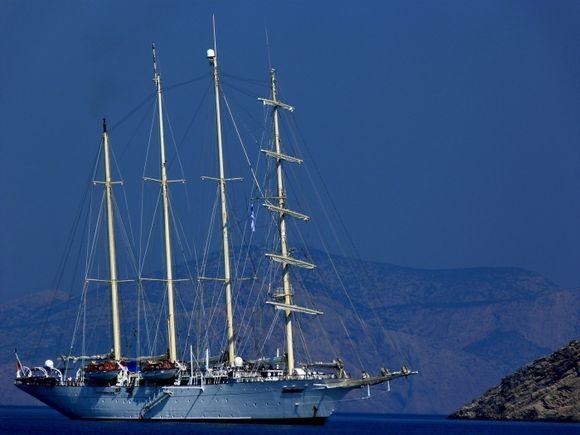 Four-masted vessel in Katapola Bay