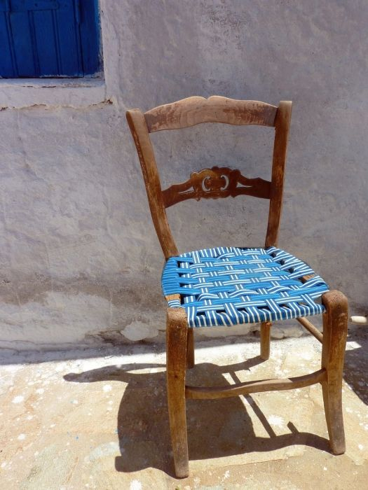 Old chair in front of Aghia Irini church