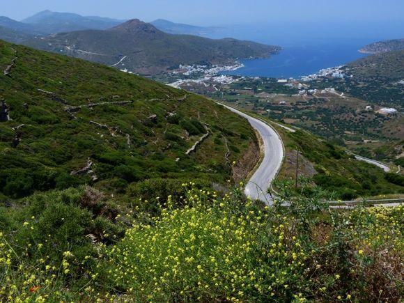 Scenery with Chora road and Katapola Bay