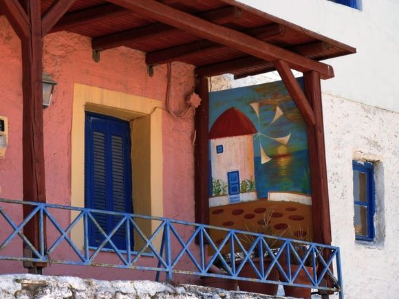 Balcony with painting