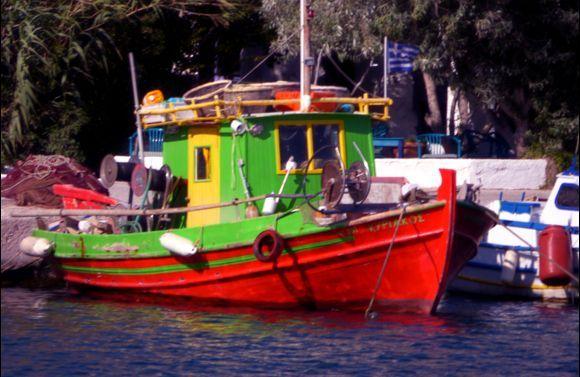 Colorful fishing boat, Leros island