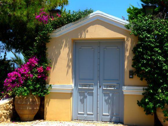 Colorful facade with bougainvillea