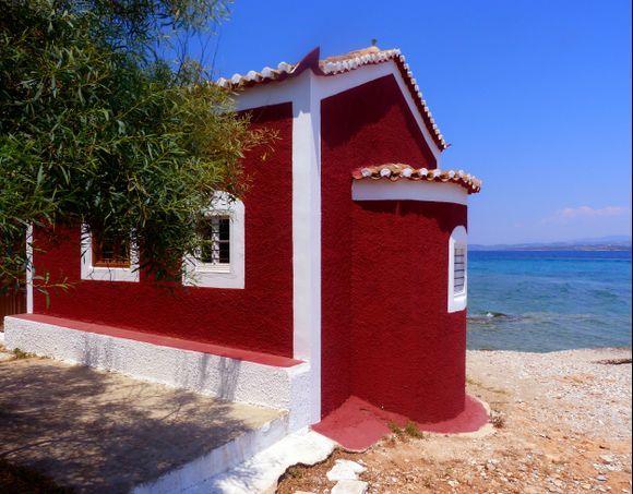 Red church on the beach