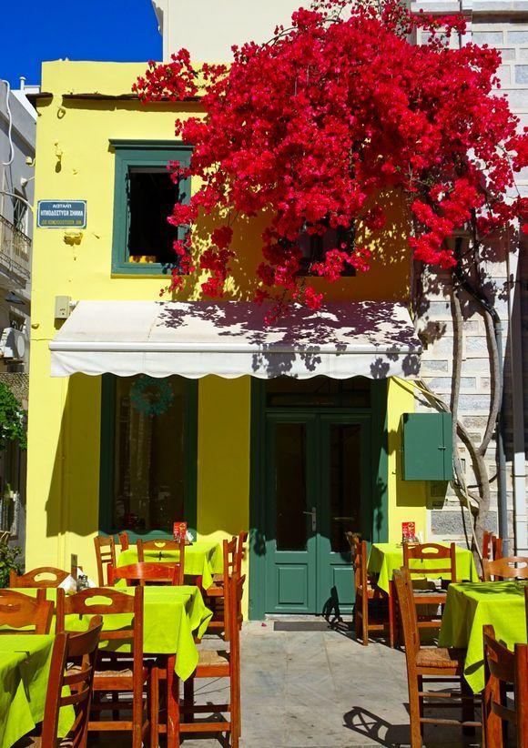 Colorful taverna with red bougainvillea, Ermoupoli