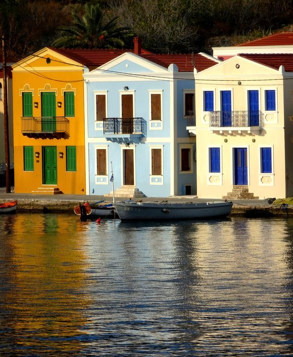 Colorful houses on the edge of water, Kastellorizo island