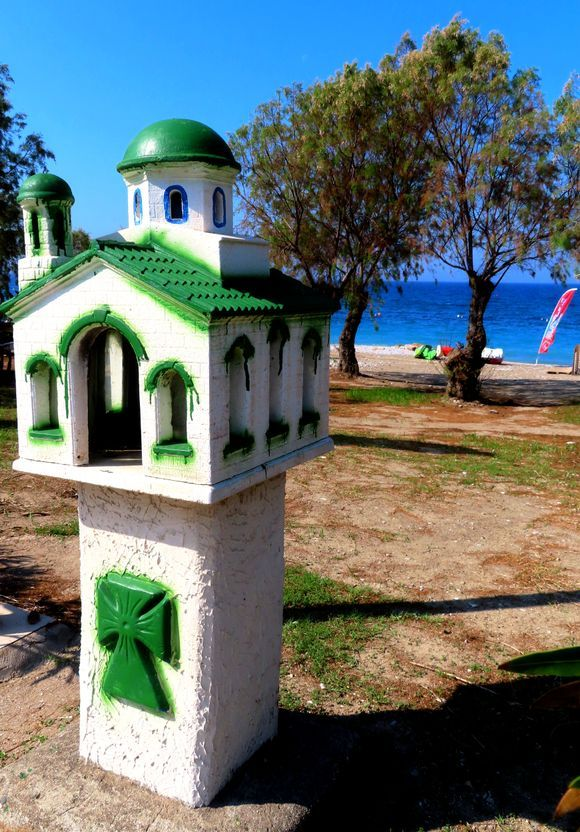Pretty chapel on Ixia beach